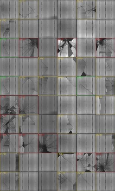 Onzichtbare hagelschade zichtbaar gemaakt met SolarTester Elektroluminiscentie onderzoek